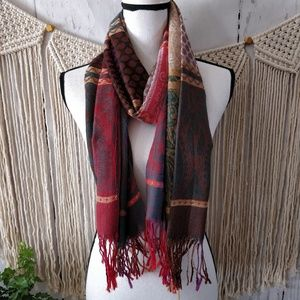 Accessories - Multicolor Rainbow Stripe Thin Wool Paisley Scarf